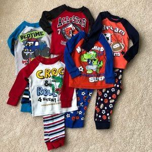 Lot of 5 Toddler Cotton Pajamas Sz 12 months